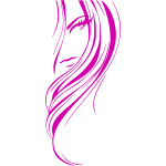 Vector drawing of pink depiction of a woman