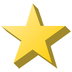 Vector image of yellow star with shade