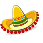 Mexican sombrero with red decoration vector graphics