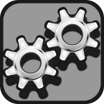 Grayscale gear icon vector drawing
