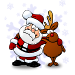 Santa and raindeer color vector illustration