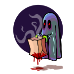 Scary ghost holding bloody bag vector illustration