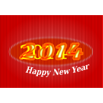 Happy New Year ribbed red sign vector image