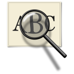 Vector graphics of magnifying glass over piece of paper with letters
