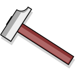 Vector clip art of cartoon drawing of a hammer