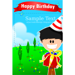Party boy birthday card template vector illustration
