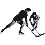 Vector graphics of ice hockey player couple
