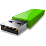 Vector clip art of portable green USB flash drive