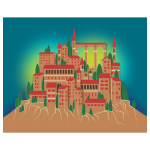 Vector clip art of mountain village in color
