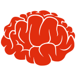 Red silhouette of a brain vector image
