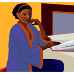 Afro-American lady reading a book at a table vector clip art
