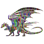 Wavy Prismatic Pattern Dragon Silhouette
