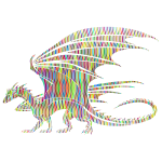 Dragon silhouette with colored pattern