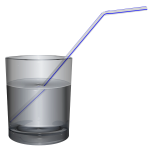 Glass of water with straw vector image