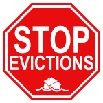 Vector graphics of stop evictions road sign