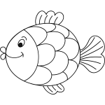 Outlined cartoon fish