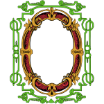 Vector clip art of red and green ornate frame