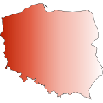 Image of outline red map of Poland