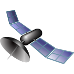 Vector drawing of blue space satellite
