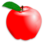 Vector drawing of light red shades apple