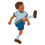 Vector image of young boy plays soccer