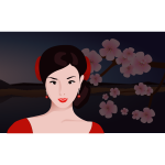 Asian woman with flowers in background vector clip art