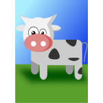 Vector illustration of cute cartoon cow
