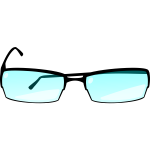 Eyeglasses with blue glass