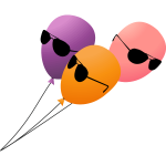 Three flying balloons with sunglasses on a lead vector illustration