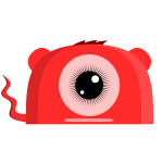One eyed red monster vector illustration