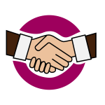 Vector image of purple colored handshake icon