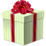Gift box with a bow on top vector drawing