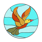 Bird in stained glass vector illustration