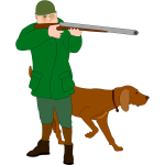 Hunter with scent hound dog vector illustration