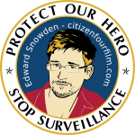 Protect our hero label against NSA vector illustration