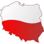 Map of Poland with flag over it vector image