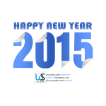 New Year 2015 blue colored sticky style.