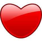 Vector image of a red heart with a double thick borders