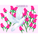 Vector illustration of pink roses and dove