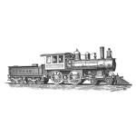 Steam locomotive detailed vector drawing