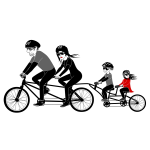 Four person family riding a tandem bike vector drawing