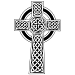 Vector clip art of black and white Celtic cross
