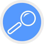 Vector drawing of round blue icon with magnifying glass