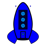 Blue rocket icon