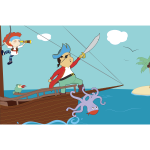 Cartoon pirate boat