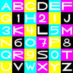 CMYK basic letters/numbers grid (mouseyer font)