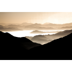 Misty valley vector silhouette