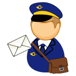 Postman, letter and bag
