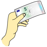 Hand holding 5 euros