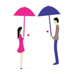 Man and woman with umbrellas